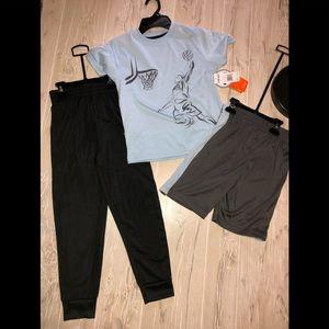 NWT 3 piece basketball shirt shorts pants set 5/6